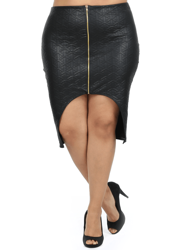 Plus Size Modern Quilted Leather Cut Out Skirt