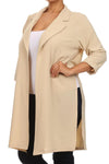 Plus Size In Town Sheer Split Sides Tan Jacket