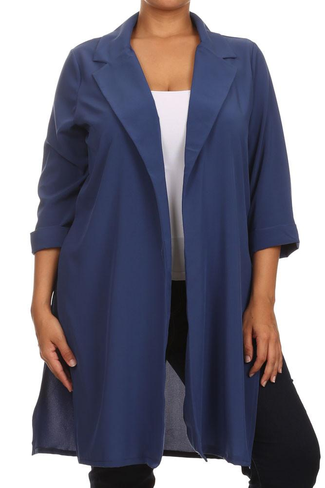 Plus Size In Town Sheer Split Sides Blue Jacket