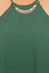 Plus Size Diamond Neckline Sheer Green Top