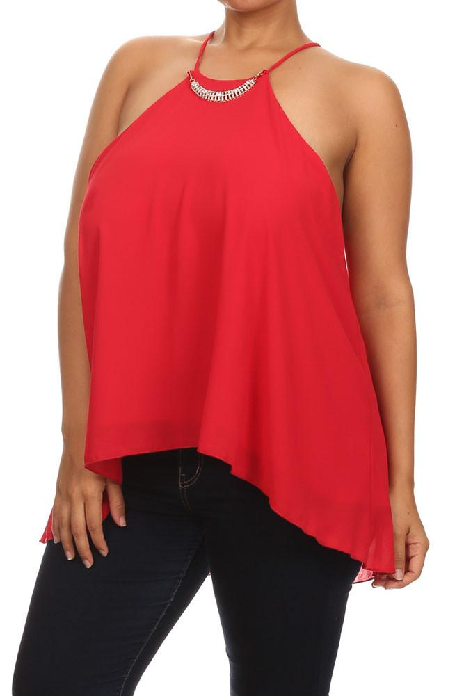 Plus Size Diamond Neckline Sheer Red Top