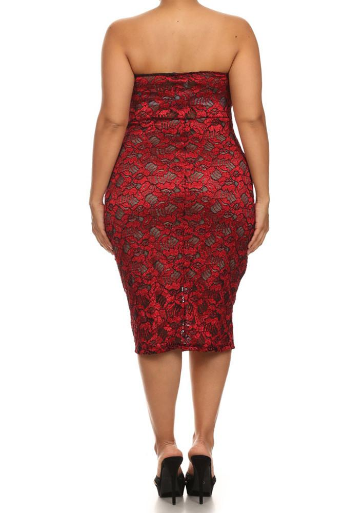 Plus Size Sparkling Flower Red Plunging Dress