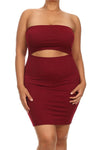 Plus Size Date Night Midriff Cut Out Burgundy Mini Dress