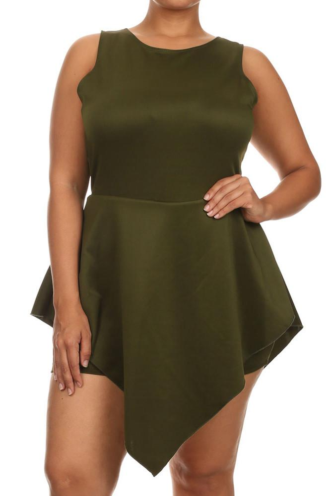 Plus Size Glamorous V Hem Open Back Skater Olive Dress