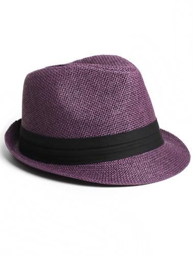 Trendy Classic Diva Tweed Purple Fedora Hat