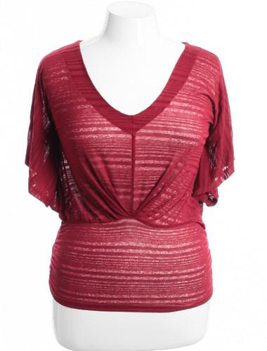 Plus Size Sexy Sparkling Striped V-Neck Burgundy Blouse