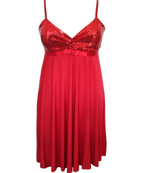 Plus Size Sparkling Cocktail Red Dress