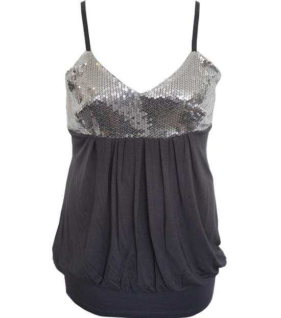 Plus Size Bubble Sparkling Silver Tank Top