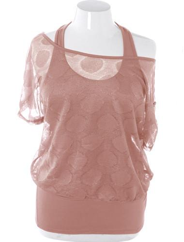 Plus Size See Through Layered Tank Taupe Blouse