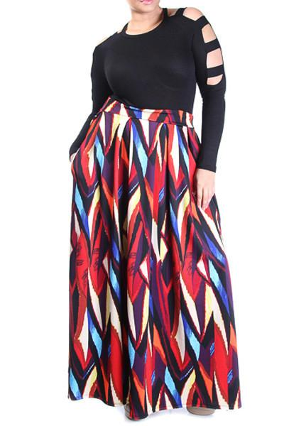 Plus Size High Waisted Printed Skirt