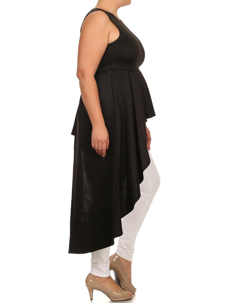 Plus Size Gala Asymmetrical Black Maxi Shirt Dress