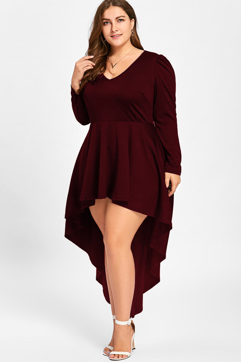 a0653e4832 Plus Size Chic Long Sleeve High Low V Neck Dress – slayboo