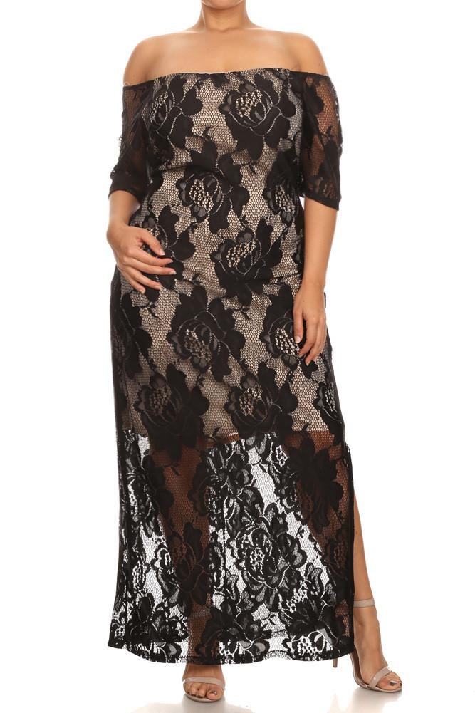 Plus Size Blooming Rose Lace Overlay Maxi Dress