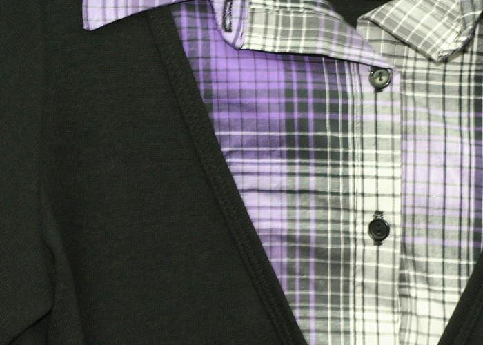 Trendy Plaid Layered Purple Top