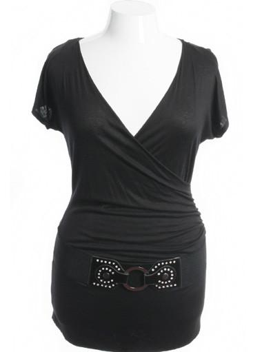 Plus Size Jazzy Layered Rhinestone Belt Black Top