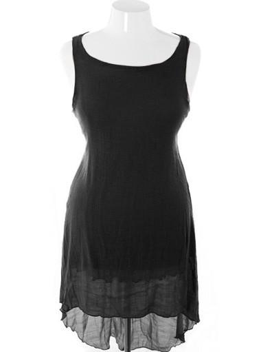 Plus Size Soft Elegant Dip Hem Black Dress