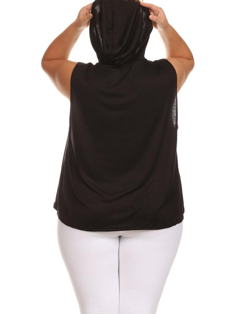 Plus Size California Sleeveless Hoodie Black Top