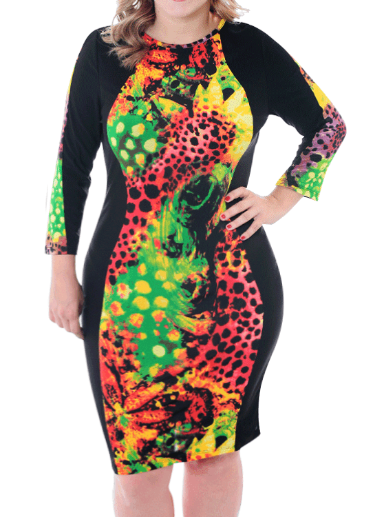Plus Size Floral Limelight Midi Orange Dress