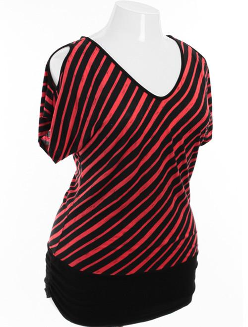 Plus Size Open Shoulder Striped Black and Orange Top