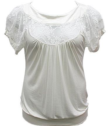 Plus Size See Through Lace White Blouse