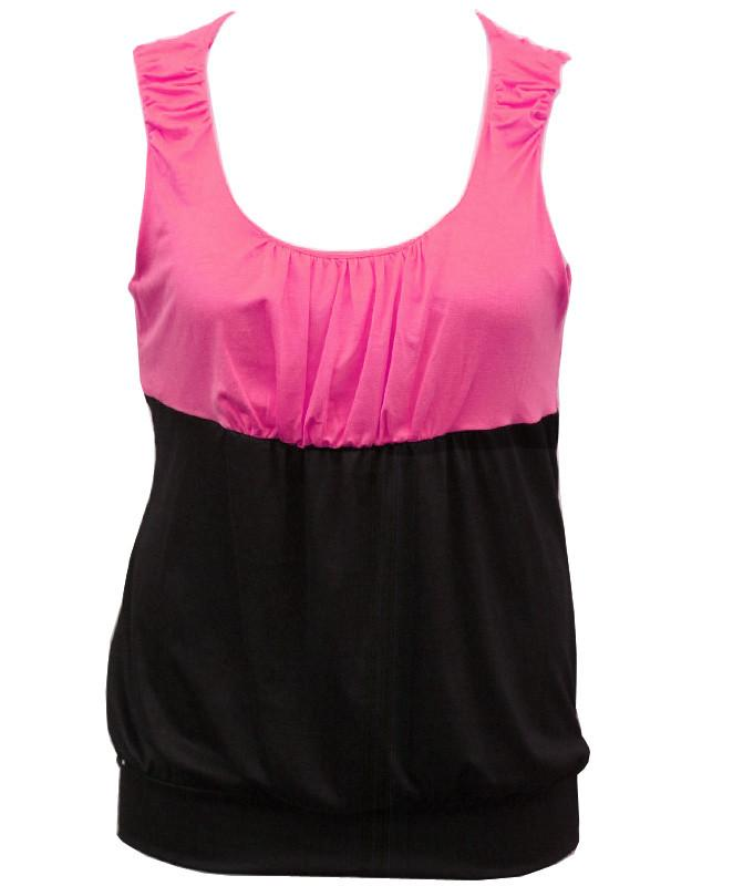 Plus Size Two Tone Bubble Pink Top