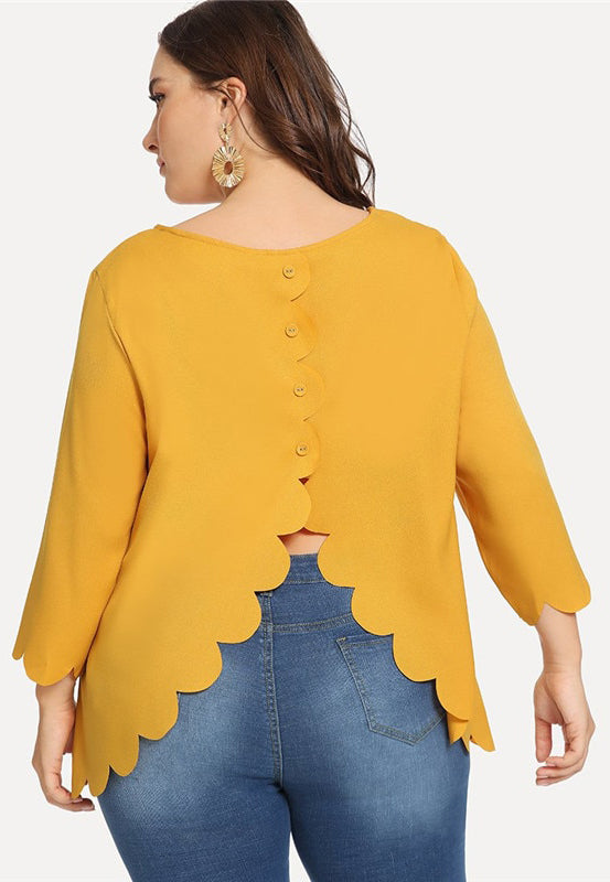 Plus Size Ginger Button Back Scallop Cuff And Hem Top