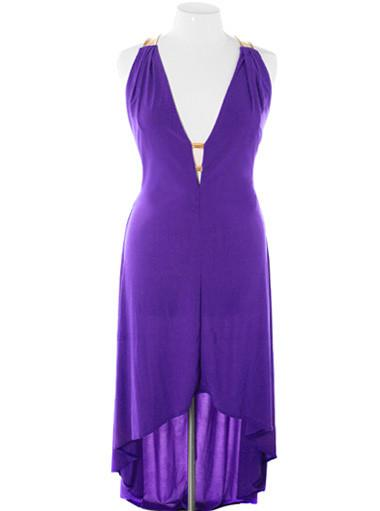 Plus Size Designer Open Back Purple Dip Hem Dress