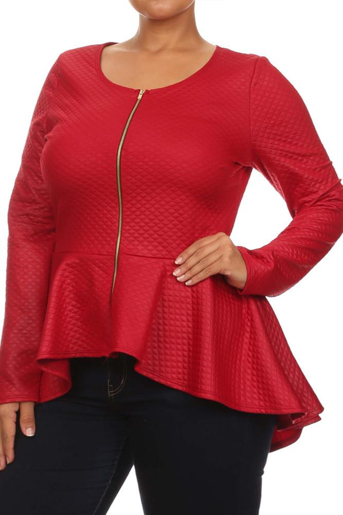 Plus Size Sensuous Diamond Print Peplum Top