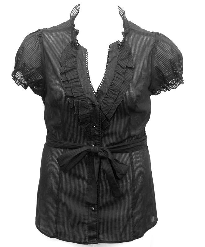 Plus Size Sexy Ruffled Black Blouse