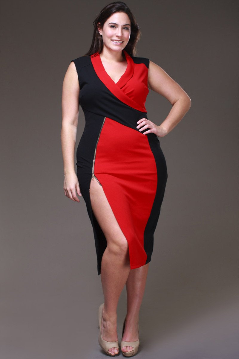 Two Tone Color Block Plus Size Dress – slayboo