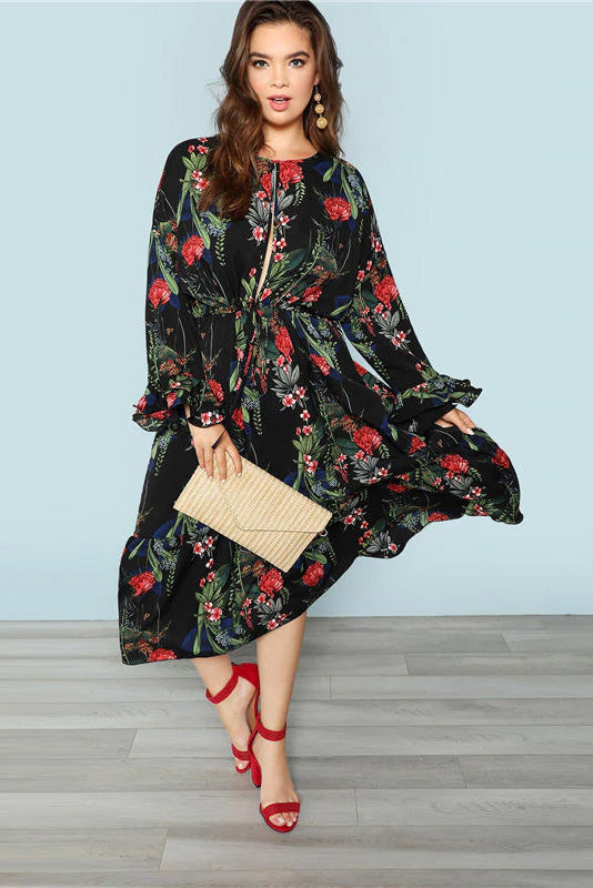 Plus Size Seductive Keyhole Front Bell Sleeves Floral Dress