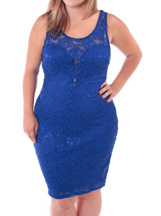 Plus Size Beauty In Lace Blue Dress