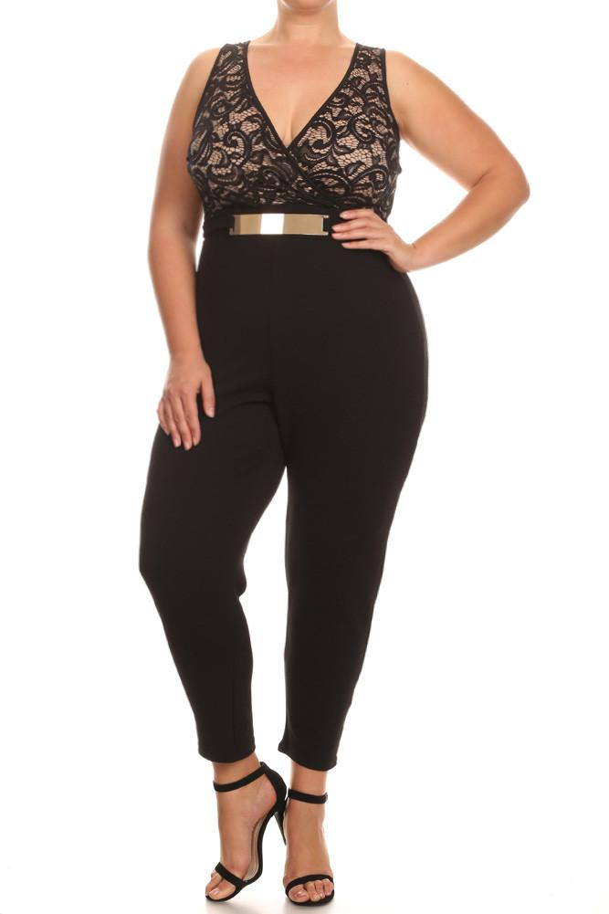 Plus Size Lavish Victorian Lace Buckle Jumpsuit