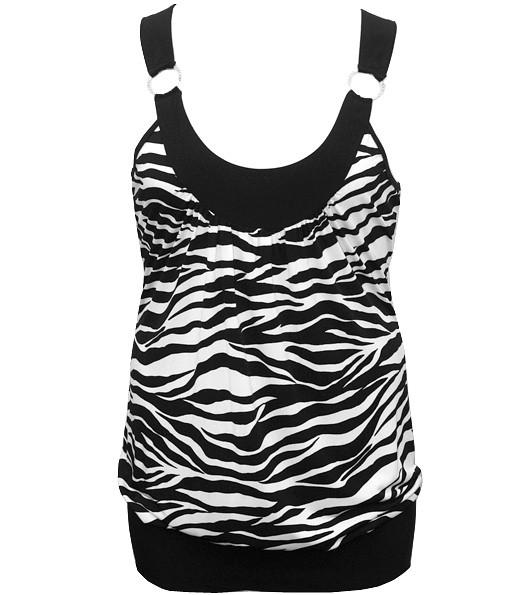 Plus Size Diamond Zebra Sexy White Tank Top