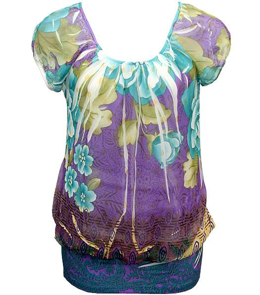 Plus Size Layered Flower Bubble Teal Blouse