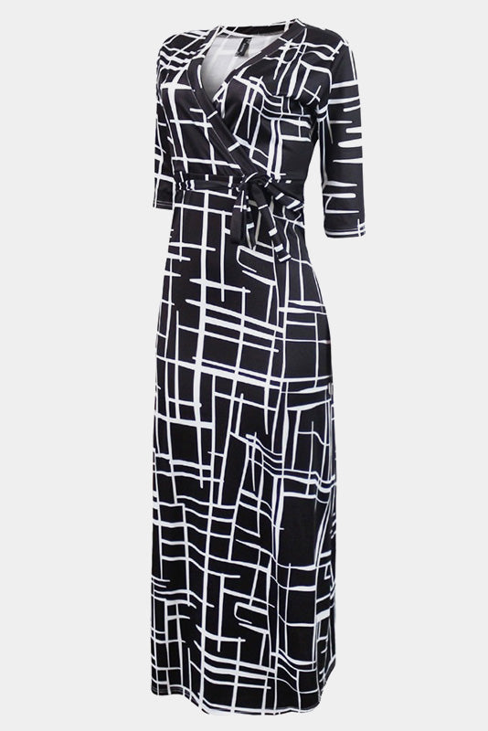 Plus Size Mod Geometric Pattern Maxi Dress