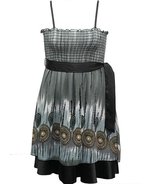 Plus Size Layered Ribon Belt Grey Dress