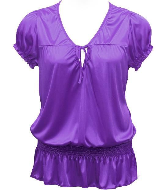 Plus Size Silky Sexy Bubble Loose Purple Top