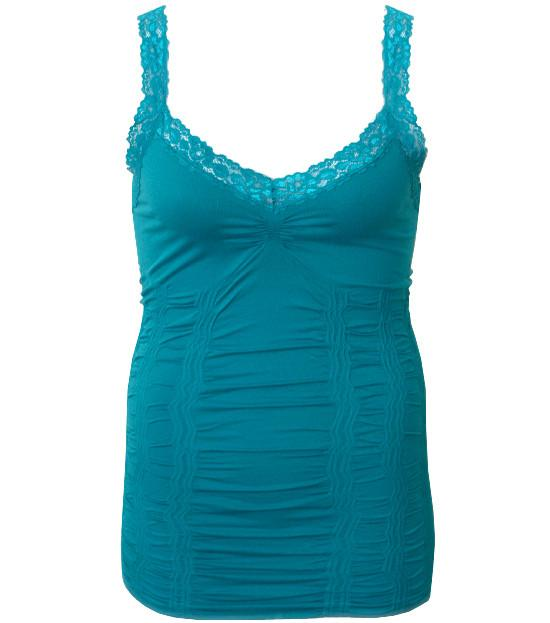 Plus Size Lace Stretchy  Teal Tank Top