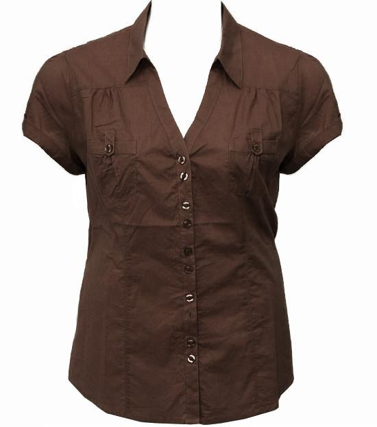 Plus Size Cotton Roll Up Sleeve Brown Blouse