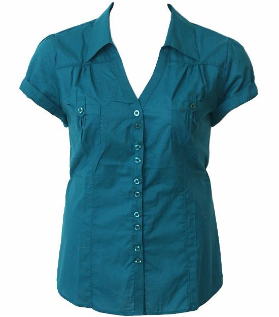 Plus Size Cotton Roll Up Sleeve Teal Blouse