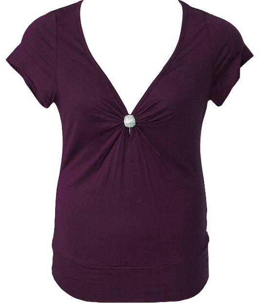Plus Size Diamond Jewelry Purple Blouse