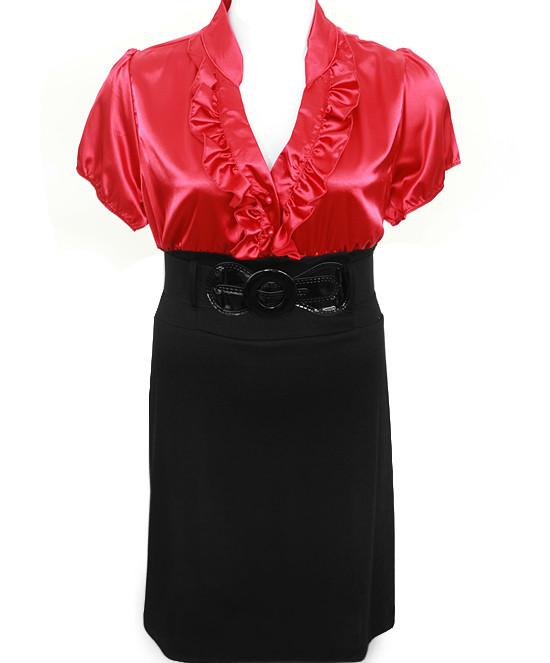 Plus Size Diva Belt Ruffled Red Dress