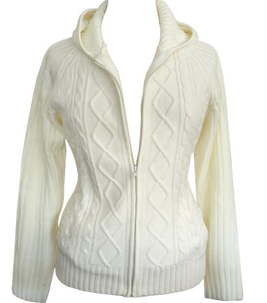 Plus Size Cozy Knit Zip Up Cream Hoody