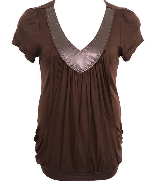 Plus Size V Collar Layered Loose Brown Top