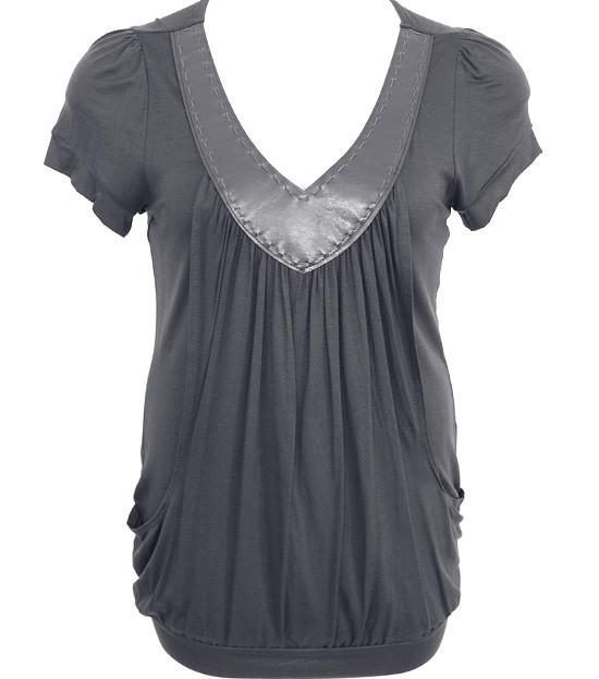 Plus Size V Collar Layered Loose Grey Top