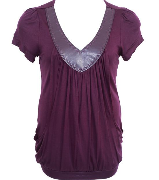 Plus Size V Collar Layered Loose Purple Top
