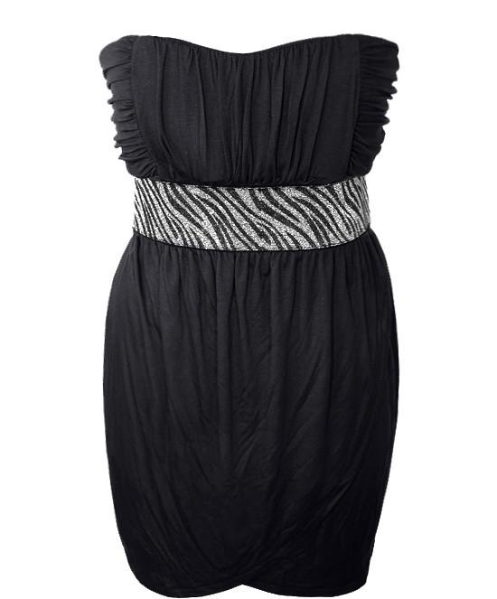 Plus Size Sparkling Zebra Black Tube Dress