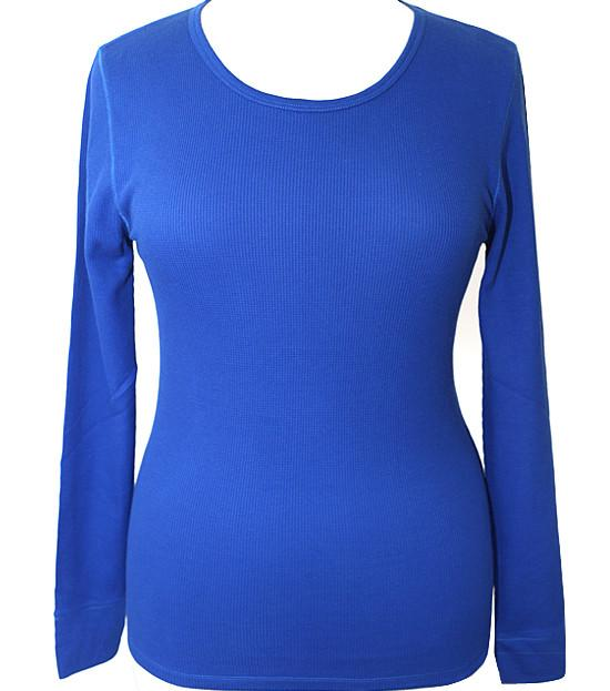 Plus Size Textured Long Sleeve Blue Thermal