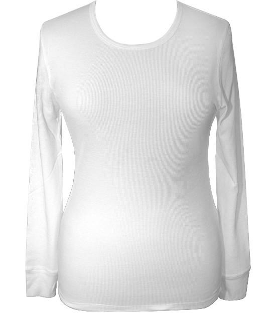 Plus Size Textured Long Sleeve White Thermal